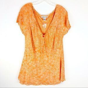 Nomadic Traders Orange Circle Pattern Boho Blouse